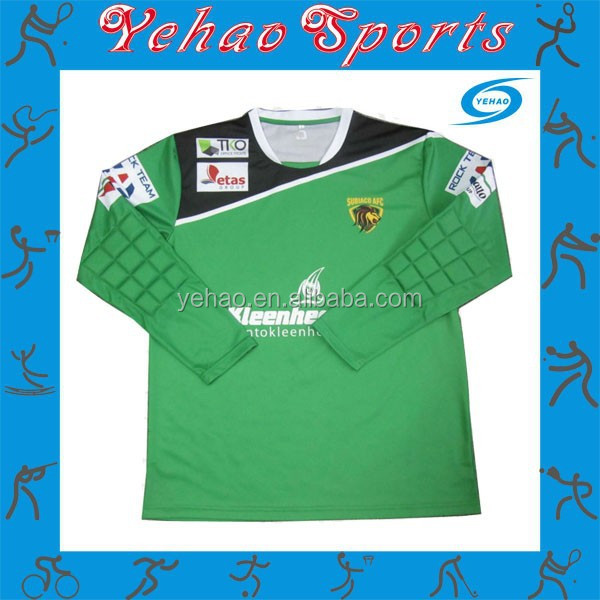 full subliamtion goalkeeper soccer jersey with protect padding