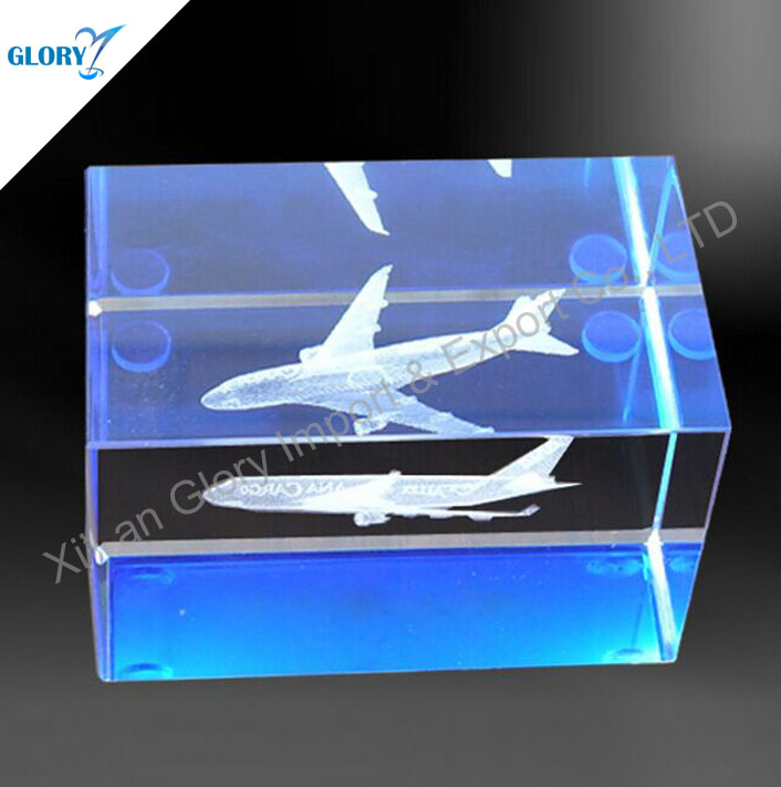 Best Quality Most Popular Airplane 3d Laser Crystal Cube