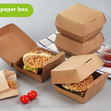 Disposable food grade custom hamburger packaging kraft paper boxes