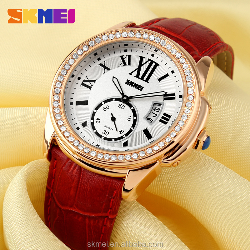 Red leather band watch king quartz ladies watch sold on Alibaba com