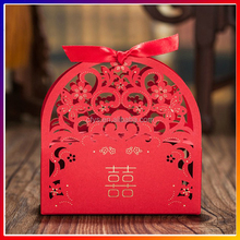 Laser cut paper favor boxes , personalised wedding favor box bird cage with ribbon