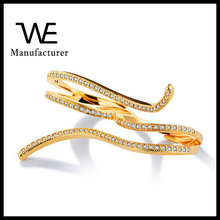 Women Shiny Gold Plating Gift Double Finger Ring for Mother