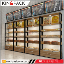 Wood stand bakery display rack cases pastry counter for bread retail store showcase