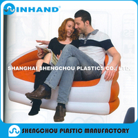 Intex inflatable corner sofa, PVC flocking blow up sofa for 2 people