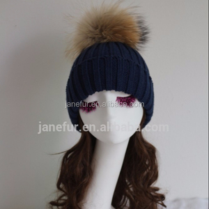 drak bule knitted hats/ cold winter knitted fur hats caps/ Resistance to cold knitted fur pompons hats caps