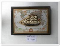 Antique style for home decor,wooden 3D sailing boat and world wall sign for bar or hotel decor ,antique wooden home decor
