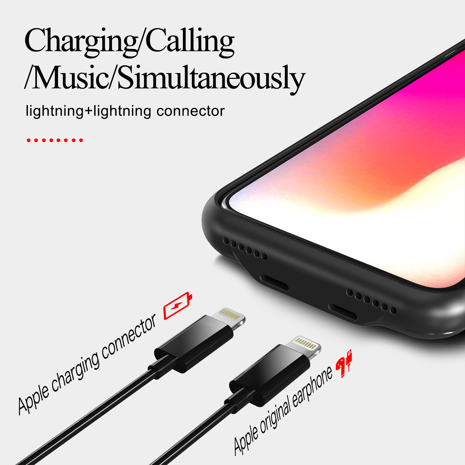 2018 New Phone Accessory Audio Case for iPhone X XS listening to music while charging