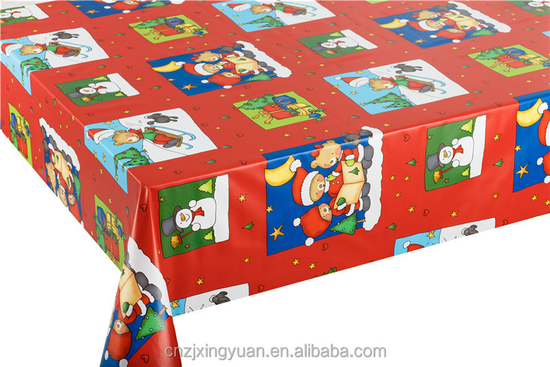 Christmas Waterproof Printed PVC Table Cloth Non woven backing decorative Table Cover