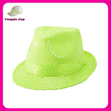 Neon Green Bling Fedora hat with Sequens for Performance