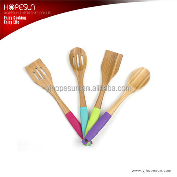 Hot sell newfangled 4 pcs wooden kitchen utenisls with colorful soft handle