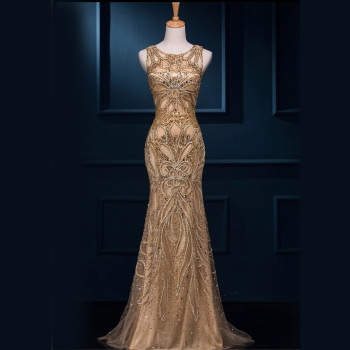 RASA-10 Stunning Design Full Length Golden Sexy Beaded Party Mermaid Evening Dress