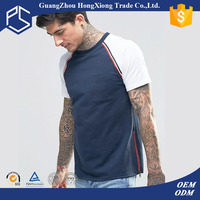 China Factory Hongxiong OEM High Quality 100% Cotton Chest Pocket Plain Two Tone Custom Men T Shirt No Side Seam