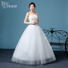 Minzart WD-DZ 0151 Hot design 2017 Gorgeous diamond-encrusted exquisite pattern wedding dress/ball gown with hazy veil