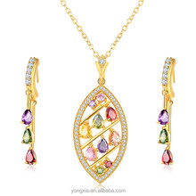 Newest design colorful cubic zirconia fashion 18k saudi gold jewelry
