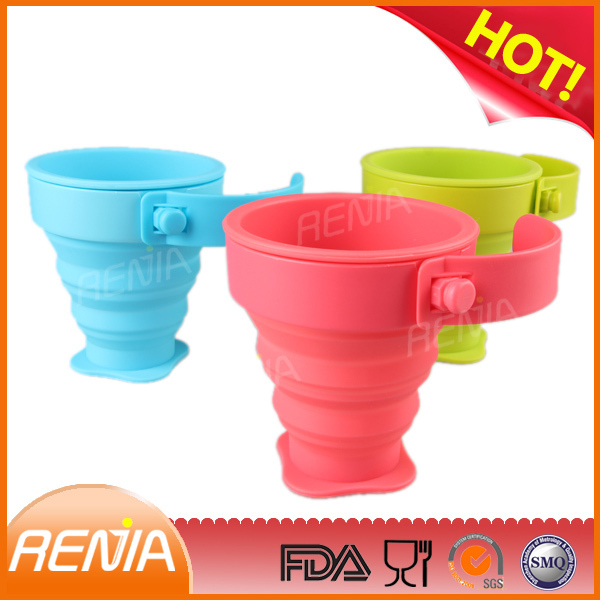 RENJIA eco friendly collapsible silicone cup,foldable drinking cup,foldable cup holder