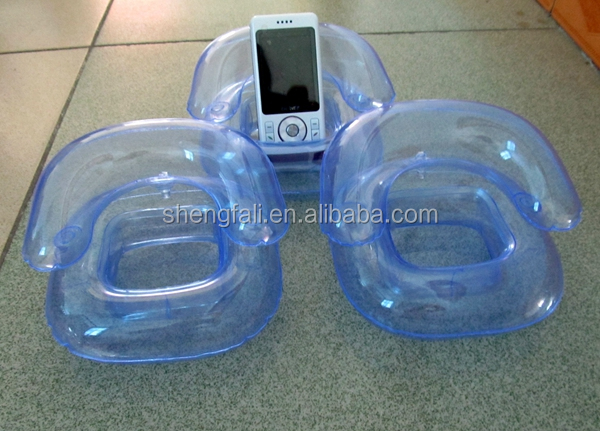 PVC inflatable arm chair mobile cell phone holder for gift