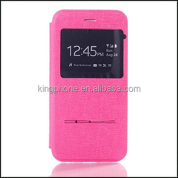 alibaba hot selling flip leather phone case with window for iphone 6