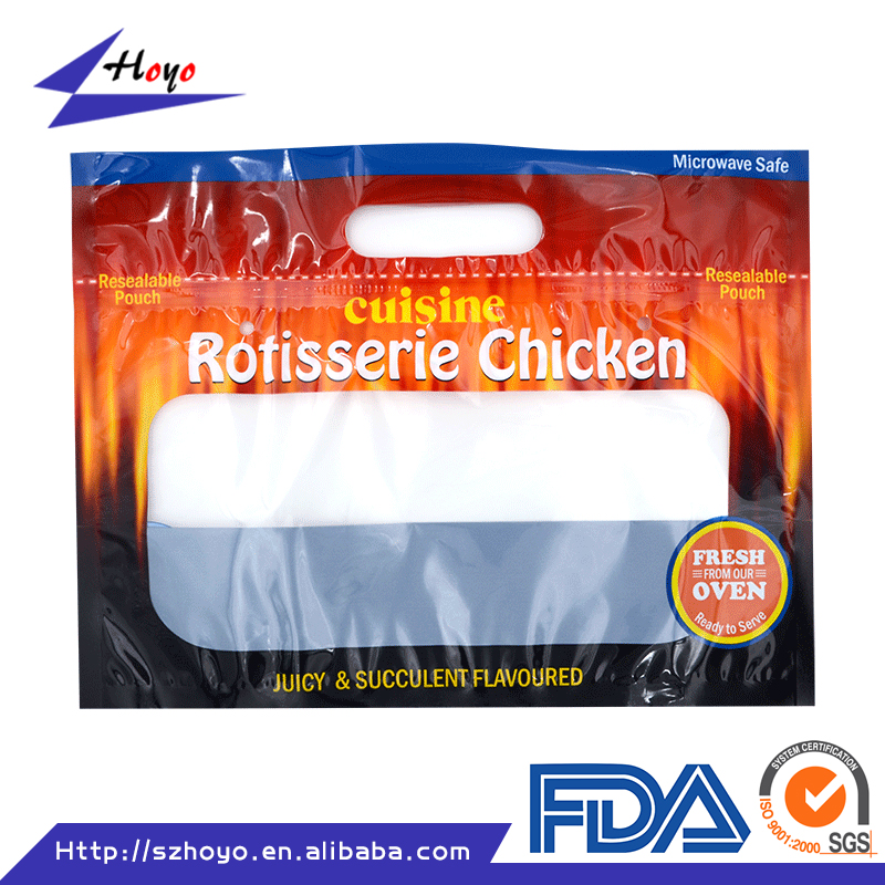 Microwaveable and anti-fog grilled chicken plastic bag/.