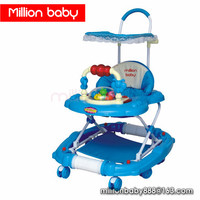 Best Blue baby walker 3 in 1 for baby boy with canopy toy musical light