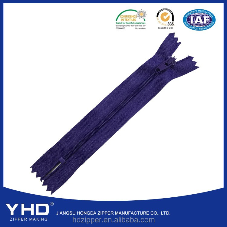 5# closed end nylon zipper parts with color-matched auto lock slider