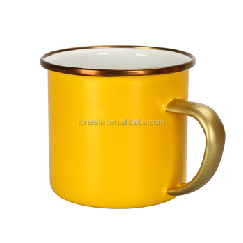 Gold rimmed wedding gifts cast iron metal customized enamel camping mug