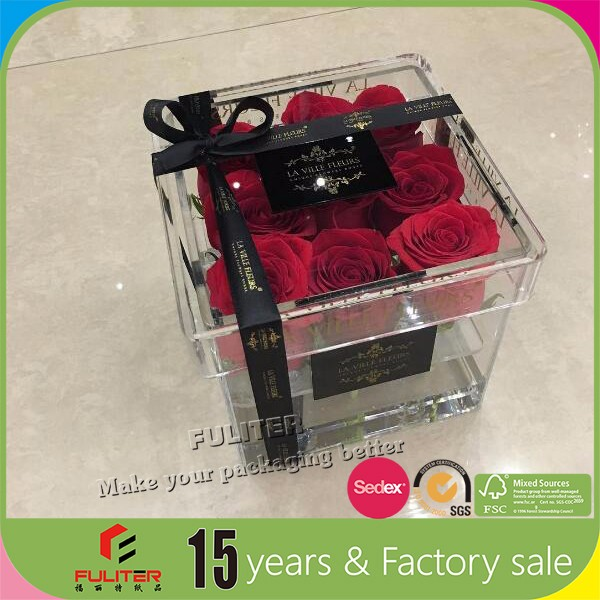 Passion love luxury gold logo acrylic clear flower box with lid
