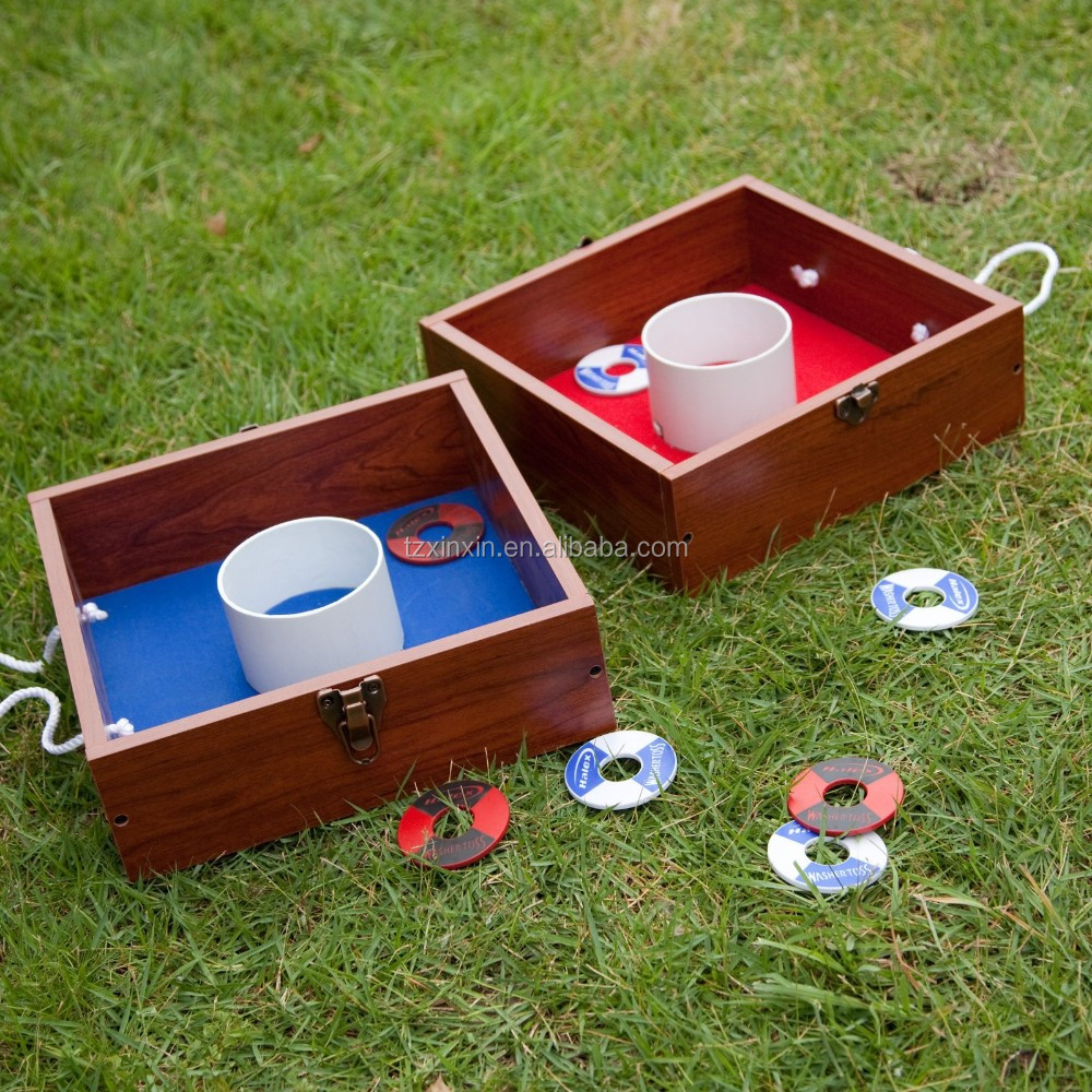 Wood Washer Toss Game Set Outdoor Washer Box Toss Game Backyard Party Games