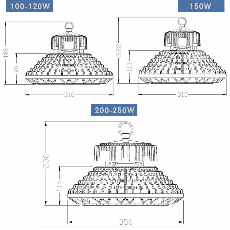 2017 HOT high bay led industrial led high bay light meanwell power 120w 150w 200w UFO LED high bay light