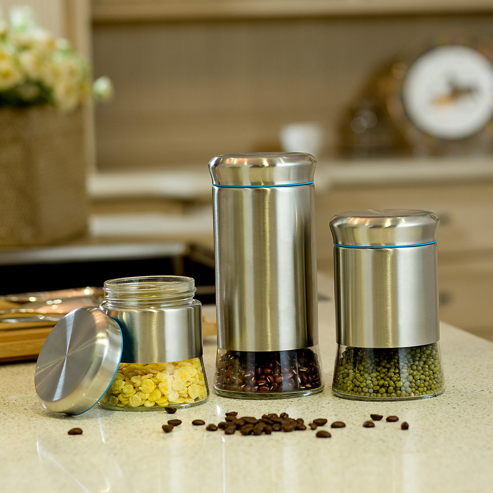 kitchen container set stainless steel fancy food air tight