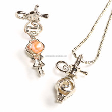 Silver Genie BottleTeapot Pearl Locket Pendant necklace