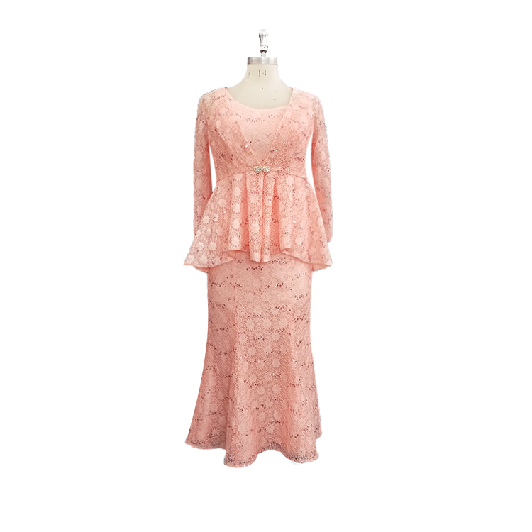2017 Mother Of The Bride Dress Coral Color Lace Pattern Fat Mother Dresses With Jacket