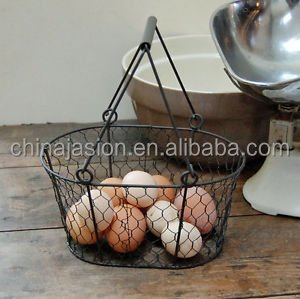 Oval Wire Baskets garlic fruit Storage Rustic Trugs Wood Handle Eggs basket