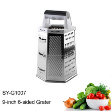 SY-G1007 vegetable tools 9-inch 6 sided stainless steel cheese multifunction grater