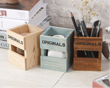 New creative Retro Wood Pen Holders School Office Students Pencil Holder desktop storage box gift