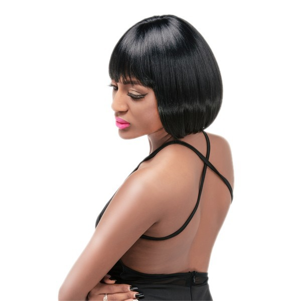 Hot sale and top quality black women love wig wholesale cheap bob style female synthetic wig