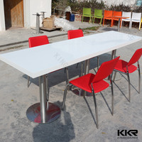 SS artificial stone 150cm long dining table for BBQ restaurant