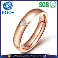 Rose Gold/Gold/ Black/Silver Stainless Steel Small CZ Rings for Men and Women Fashion Wedding Engagement Finger Ring