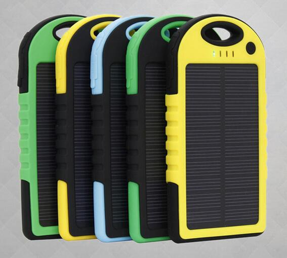 solar power bank 5000mah solar panel power bank with colorful rubberized