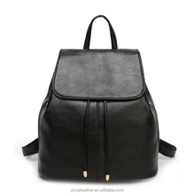 Large space black PU leather ladies <strong>backpack</strong> with drawstring closure
