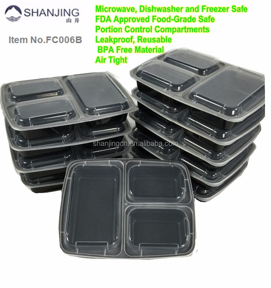 Meal Prep 3 Compartment Food Containers with leak resistance lids, FDA Approved Plastic Food Box oven save