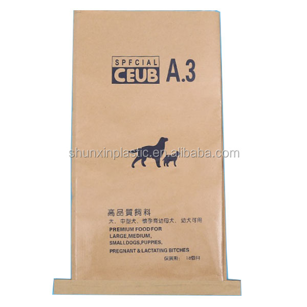 accept custom paper laminated plastic PP polypropylene woven plastic laminated kraft paper bag