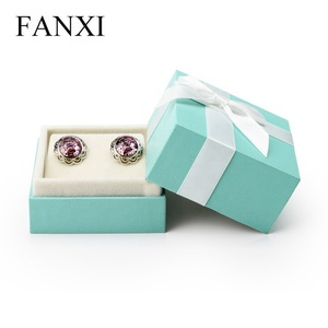 FANXI Custom Delicate Gift Box Green Leatherette Paper Ear Stud Holder Jewelry Display Package Lovers Earrings Box