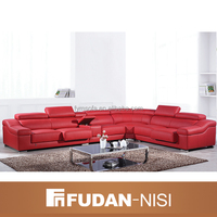 2016 best selling red top grain leather corner sofa