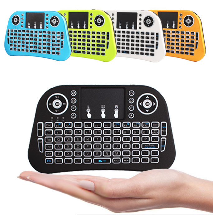 2018 colourful mini 2.4G wireless keyboard i10 Air mouse balcklit keybord mouse with touch pad