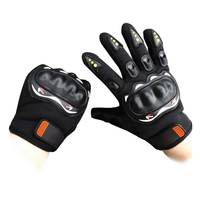 Best Protective Black Biker Leather Motorcycle Gloves Full Finger Cycling Glove