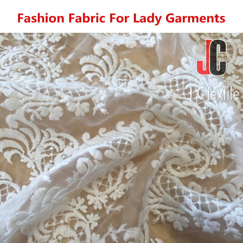 4528 Shaoxing JC TEXTILE 100% polyester chemical lace embroidery fabric wholesale african lace fabrics for ladies dresses