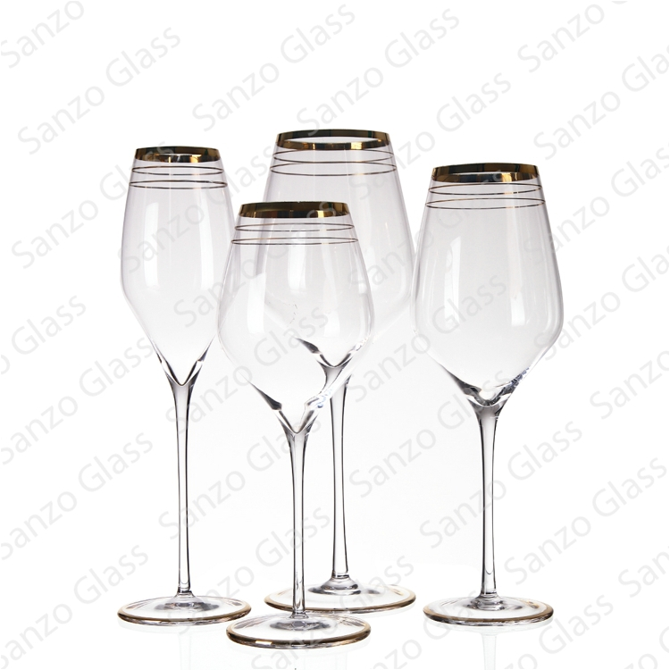 SET 13034 SANZO mouthblown oem decoration gold rim wine glass with long stem