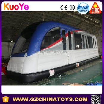 Customized new design bounce house inflatable train for kids