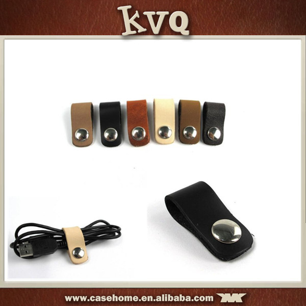 Genuine Leather Material Cable Winder USB Cable Tidy