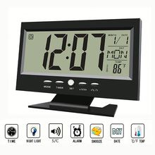 Hot selling new item blue light Sound Control Table Smart Clock